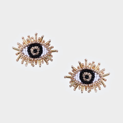 Olivia Dar Mini Eye Earrings - Black