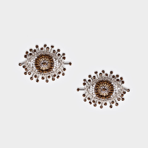 Olivia Dar Mini Eye Earrings - Beige