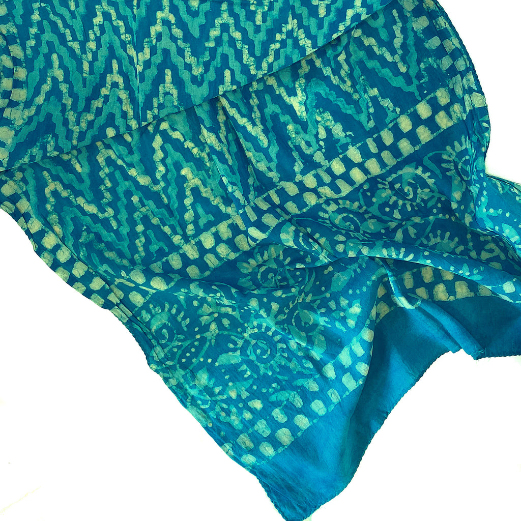 Batik Print Cotton Scarf (Light Blue ZigZag)