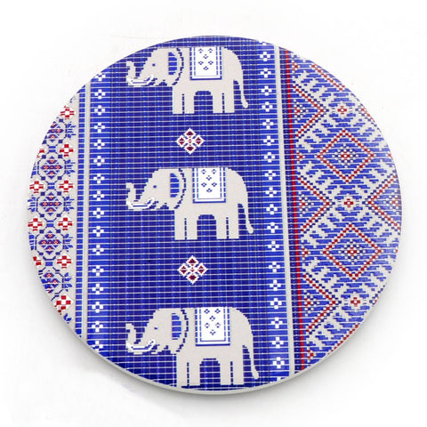 Water Absorbent Clay Coaster - Blue Elephant Textile