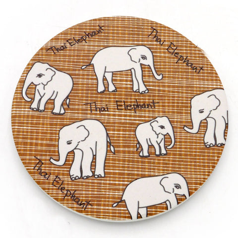 Water Absorbent Clay Coaster - Thai Elephant