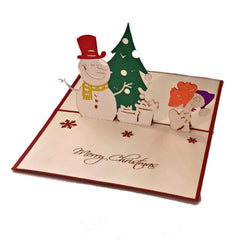 Snowman with Christmas Tree - Vietnamese Handmade Pop-up Card