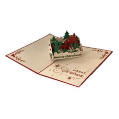 Holiday Scene Christmas - Vietnamese Handmade Pop-up Card