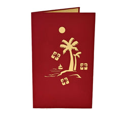 Tropical Santa on Hammock - Vietnamese Handmade Pop-up Card