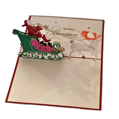 Santa on Sleigh - Vietnamese Handmade Pop-up Card