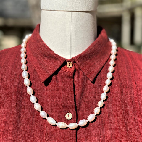 White Freshwater Pearl Necklace 24""