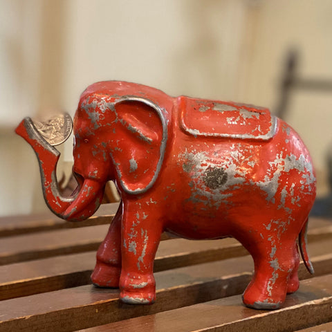 Vintage Cast Aluminum Elephant Coin Bank - Red