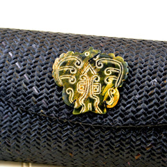 Black Rattan and Snake Skin Clutch with Soapstone Medallion (Green Medallion)