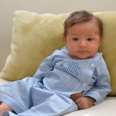Cotton Pajamas - Blue with Blue Gingham Laying Elephant and Red Gingham Piping (4 Year)