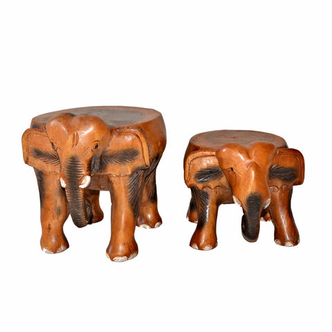 Carved Wood Child's Elephant Stool - Carved Elephants