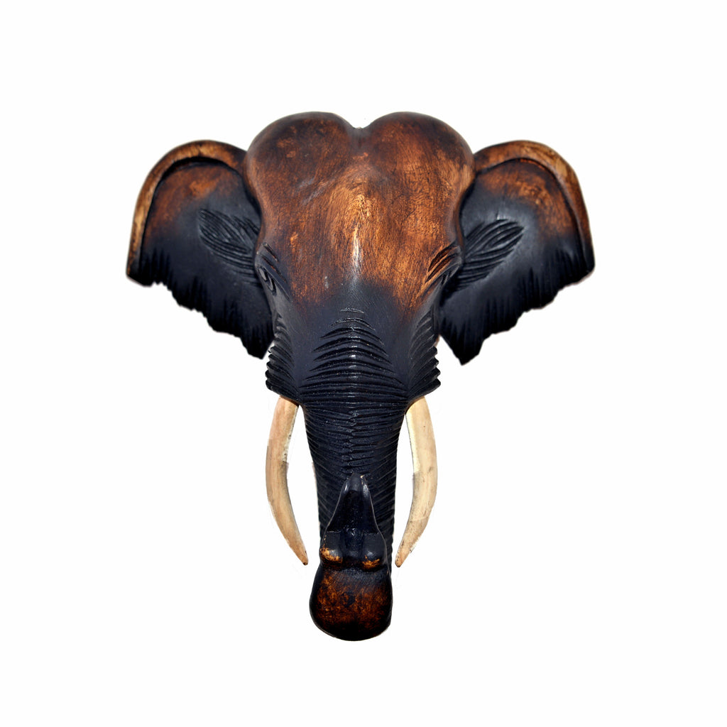 Hand Carved Hanging Elephant Head (20 inch)