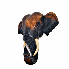 Hand Carved Hanging Elephant Head (30 inch)