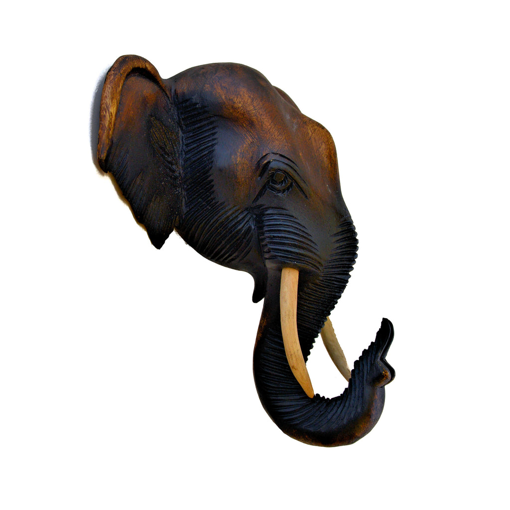 Hand Carved Hanging Elephant Head (12 inch)