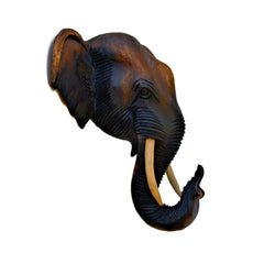 Hand Carved Hanging Elephant Head (10 inch)