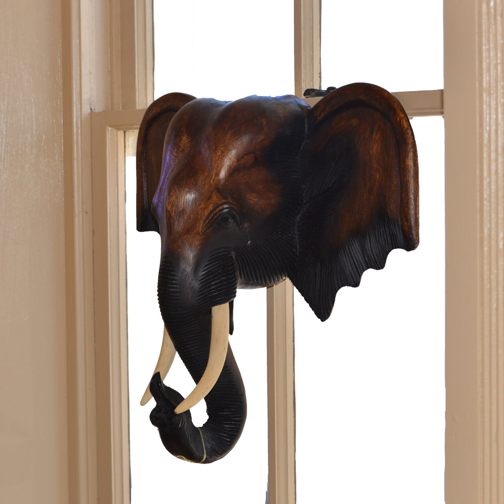 Hand Carved Hanging Elephant Head (25 inch)