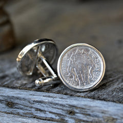 Thai Sterling Silver Coin Cuff Links