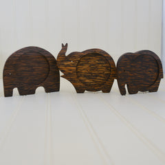 Coconut Wood Elephant Coaster