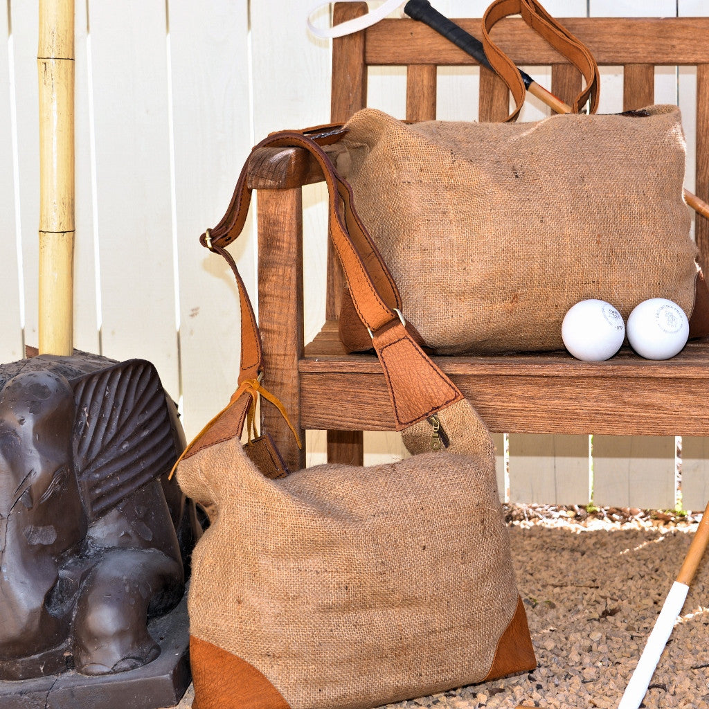 Burlap and Leather Duffel & Tote Bags