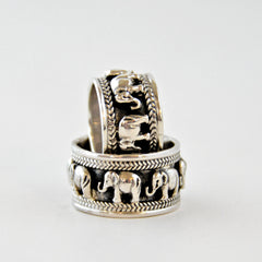 Wide Band of Elephants Ring