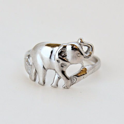 Single Silver Elephant Ring