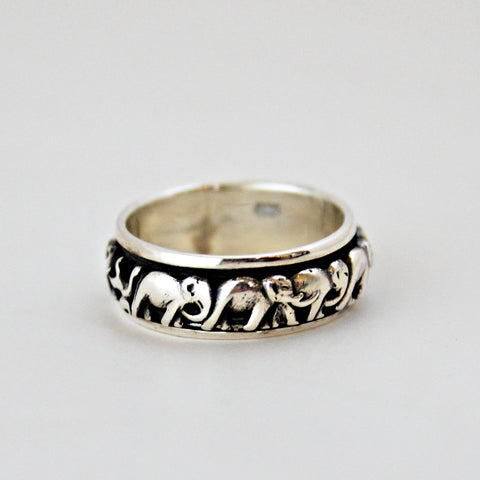 Spinning Band of Elephants Ring