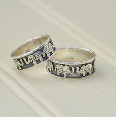 Flat Embossed Band of Elephants Ring