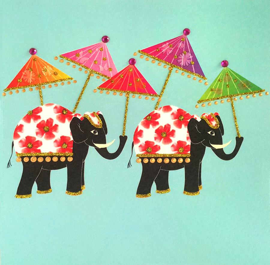 Jaab Cards - Elephant with Parasols (Pack of 5)