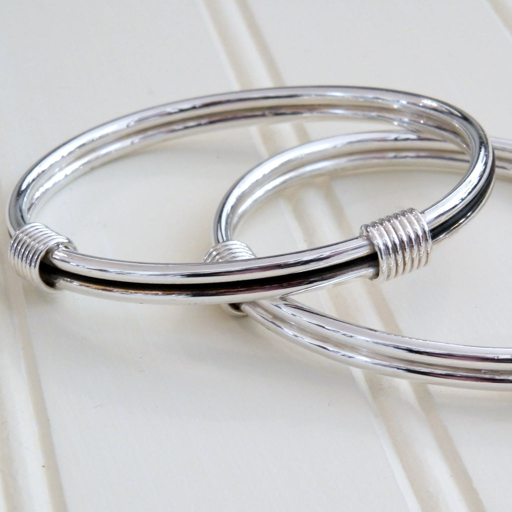 2 knot elephant hair style Sterling Silver Bangle