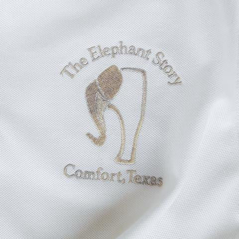 White Distressed Elephant Polo Jersey