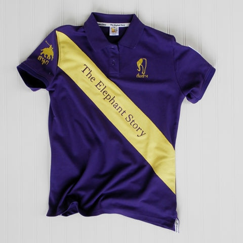 Womens Purple/Yellow Sash Elephant Polo Jersey