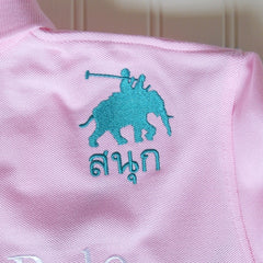 Womens Pink/Green Sash Elephant Polo Jersey