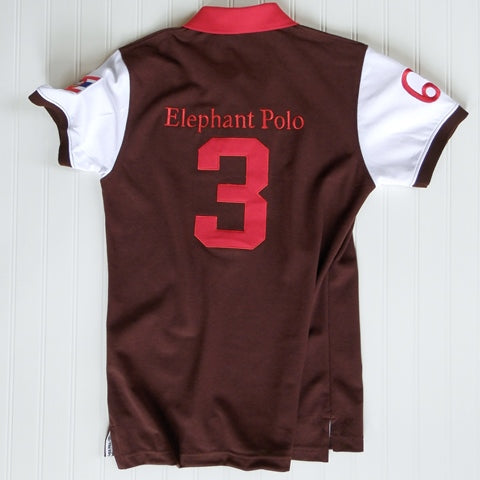The Elephant Story Brown and Red Elephant Polo Jersey (Children's Sizes)