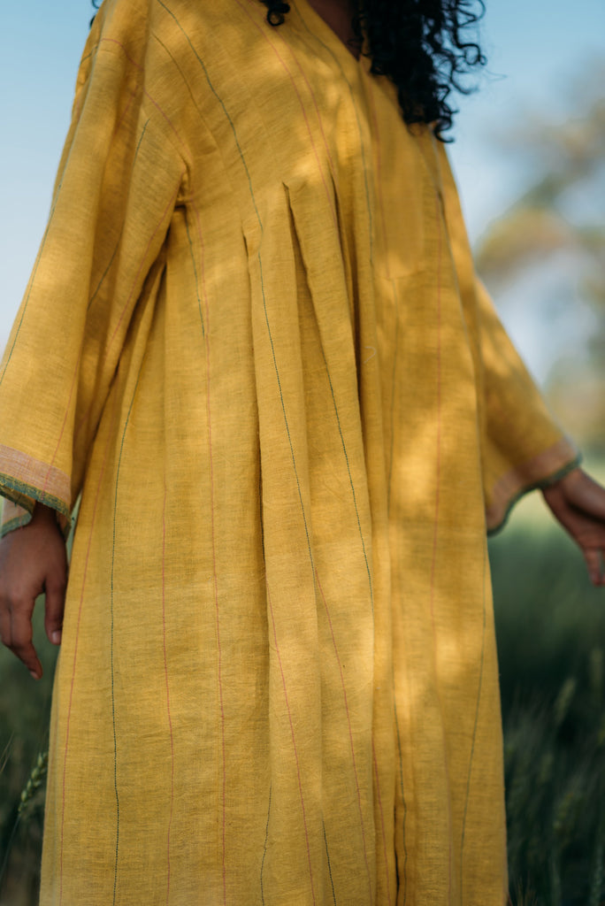 CROW Summer Yellow Pleated Dress