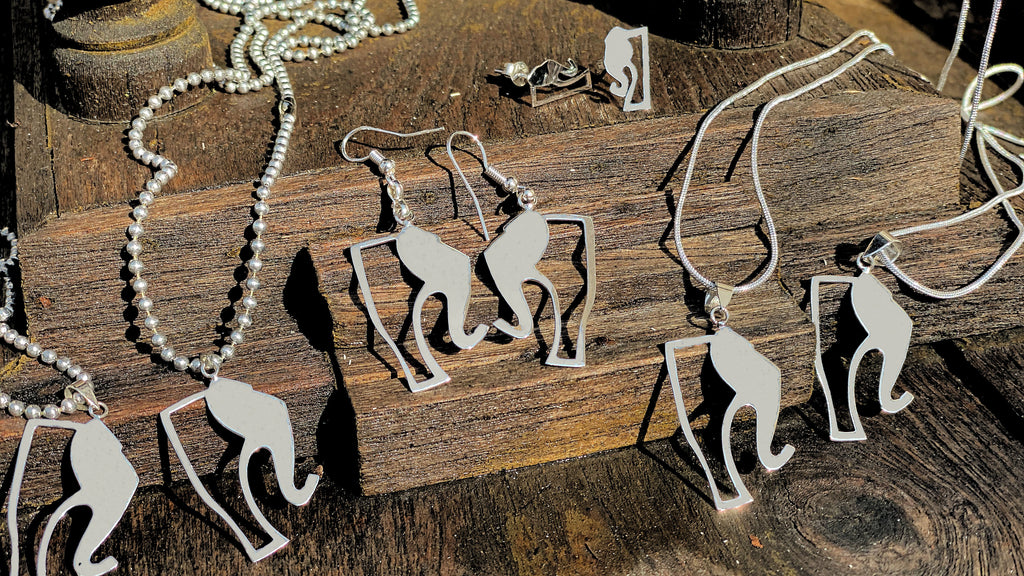 Sterling Silver Elephant Story Logo Charm with Sterling Silver Snake Chain Necklace