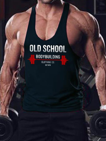 Old School Bodybuilding Stringer Tank Top with Red Barbell and Man Holding Heavy Weights, and 1975 Old School Workout Stringer