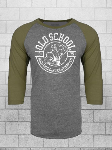 Gray and Green Sleeve Old School Bodybuilding Clothing Gym Shirt, three quarter baseball gym tee.
