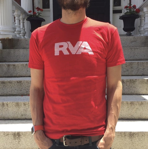 Red and white RVA shirt