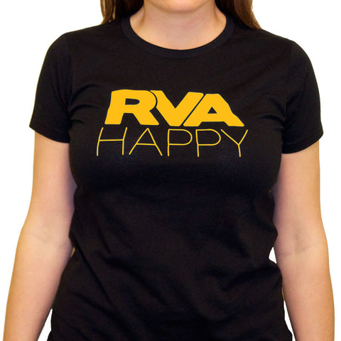 Women's RVA Black and Gold Happy Tee