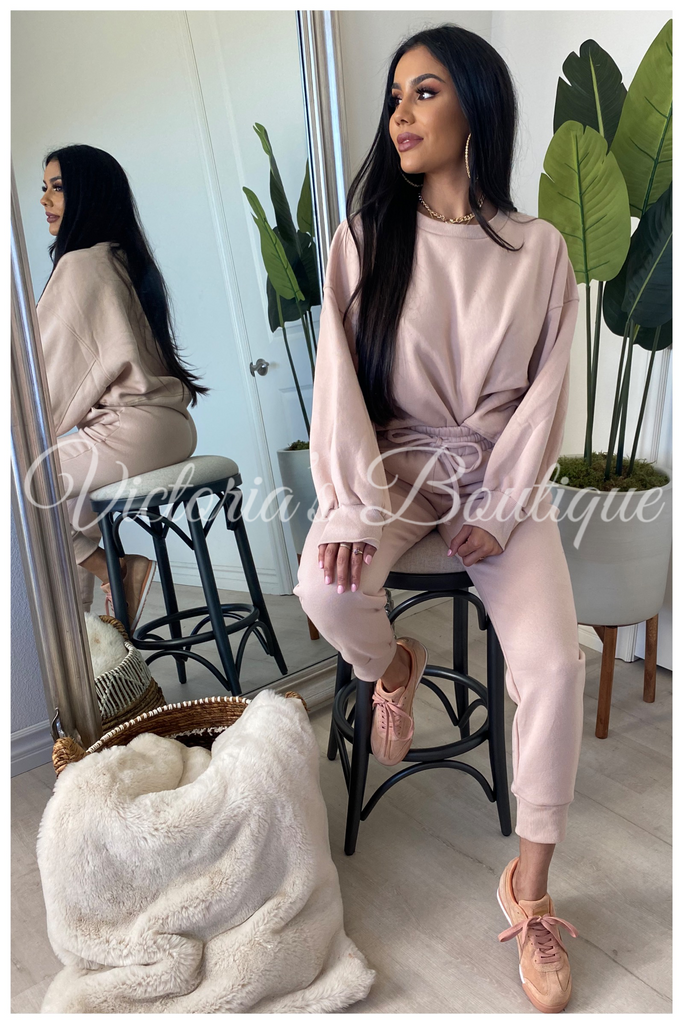 Lounge With Me Sweat Set (Blush)