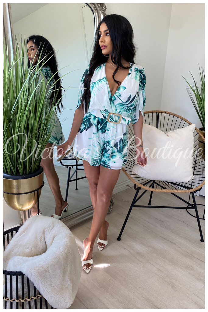 The Palms Resort Romper (White)