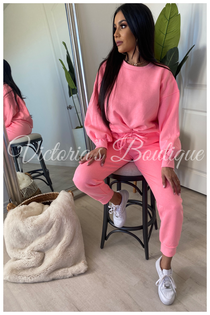 Lounge With Me Sweat Set (Pink)