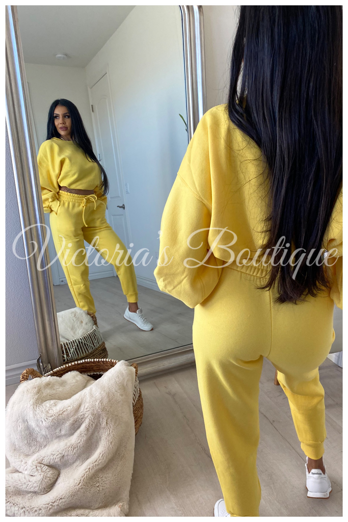 Lounge With Me Sweat Set (Yellow)