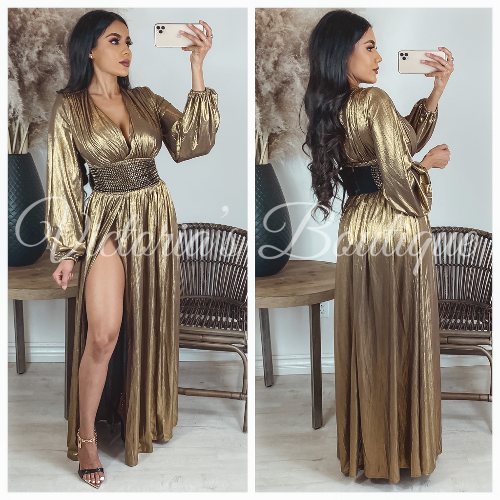 Holiday Affair Dress (Gold)