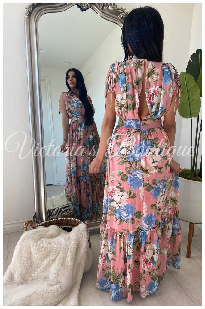 Wandering Wistfully Maxi Dress (Pink)