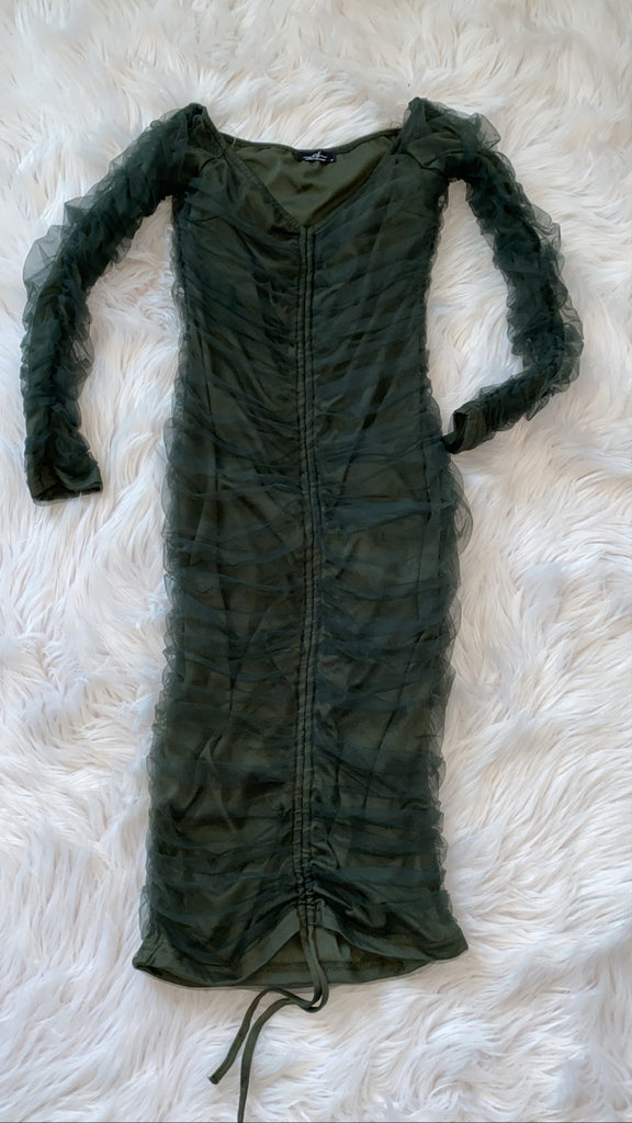 Hunter Green Mesh Dress
