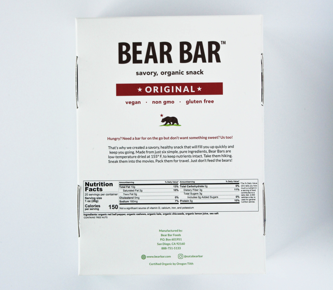 BEAR BAR, ORGANIC, ORIGINAL 1 OZ - CASE OF 20