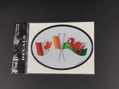Canada - Wales Flag Oval Car Decal