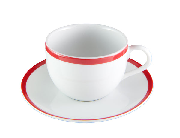 Red Stripe Cup & Saucer