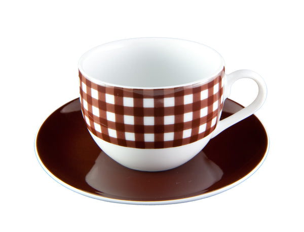 Chocolate Check Cup & Saucer