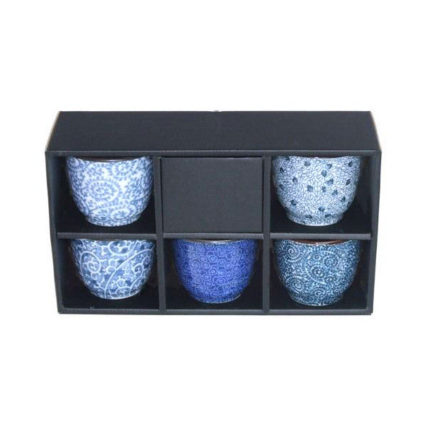Nippon Blue 5 Piece Porcelain Tea Cup Set